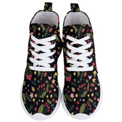 Floral Christmas Pattern  Women s Lightweight High Top Sneakers by Valentinaart
