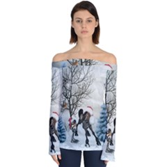Christmas, Cute Bird With Horse Off Shoulder Long Sleeve Top