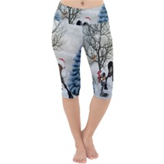 Christmas, Cute Bird With Horse Lightweight Velour Cropped Yoga Leggings by FantasyWorld7
