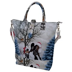 Christmas, Cute Bird With Horse Buckle Top Tote Bag