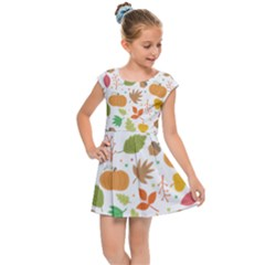 Thanksgiving Pattern Kids Cap Sleeve Dress by Valentinaart