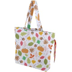 Thanksgiving Pattern Drawstring Tote Bag by Valentinaart