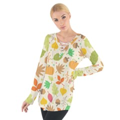 Thanksgiving Pattern Tie Up Tee