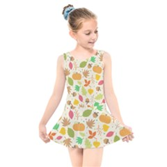 Thanksgiving Pattern Kids  Skater Dress Swimsuit by Valentinaart