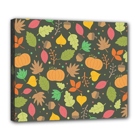 Thanksgiving Pattern Deluxe Canvas 24  X 20  (stretched) by Valentinaart