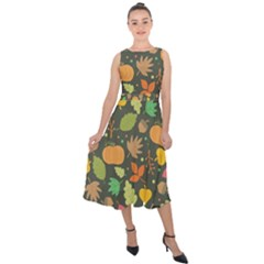 Thanksgiving Pattern Midi Tie Back Chiffon Dress by Valentinaart