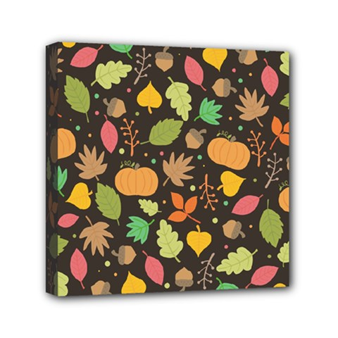 Thanksgiving Pattern Mini Canvas 6  X 6  (stretched) by Valentinaart