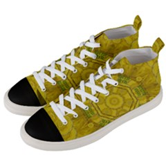 Sunshine Feathers And Fauna Ornate Men s Mid Top Canvas Sneakers by pepitasart