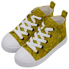 Sunshine Feathers And Fauna Ornate Kid s Mid Top Canvas Sneakers by pepitasart
