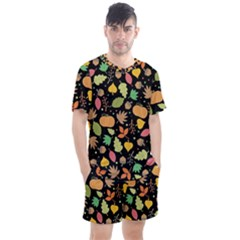 Thanksgiving Pattern Men s Mesh Tee And Shorts Set