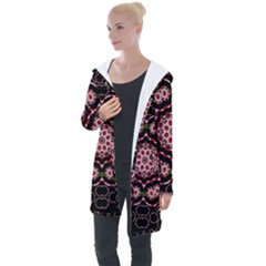Fantasy Flowers Ornate And Polka Dots Landscape Longline Hooded Cardigan