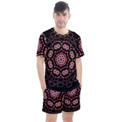 Fantasy Flowers Ornate And Polka Dots Landscape Men s Mesh Tee And Shorts Set