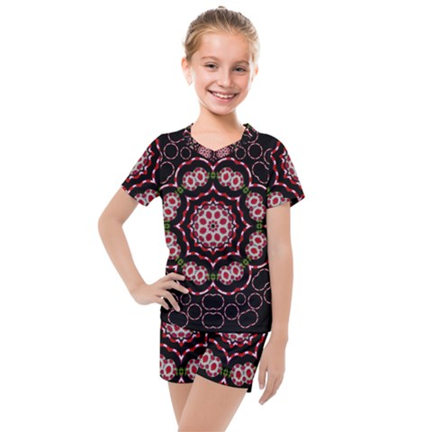 Fantasy Flowers Ornate And Polka Dots Landscape Kids  Mesh Tee And Shorts Set by pepitasart