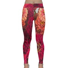 Peach And Pink Zinnias Classic Yoga Leggings