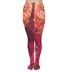 Peach And Pink Zinnias Tights by bloomingvinedesign