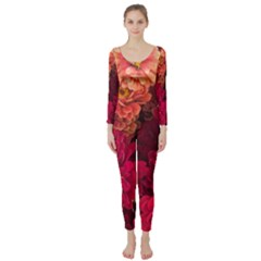 Peach And Pink Zinnias Long Sleeve Catsuit