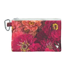 Peach And Pink Zinnias Canvas Cosmetic Bag (medium) by bloomingvinedesign