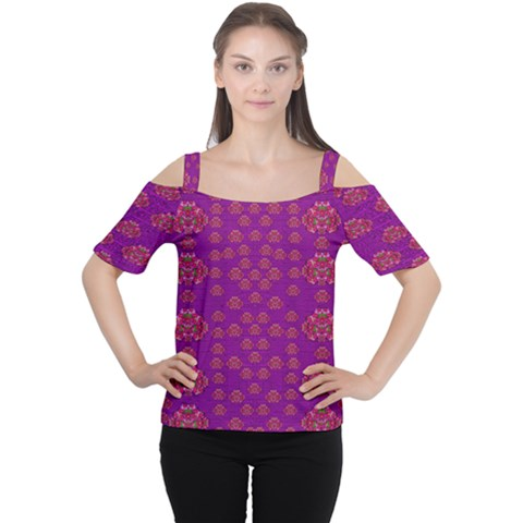 Seasonal Delight With Fantasy Flowers Cutout Shoulder Tee by pepitasart