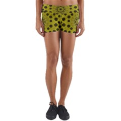 Gold For Golden People And Flowers Yoga Shorts by pepitasart
