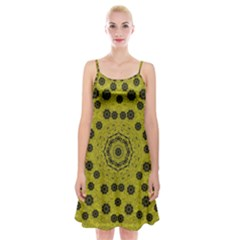 Gold For Golden People And Flowers Spaghetti Strap Velvet Dress