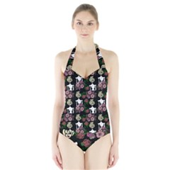 Victorian Girl Black Halter Swimsuit