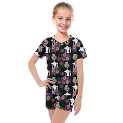 Victorian Girl Black Kids  Mesh Tee And Shorts Set