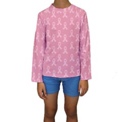 Pink Ribbon   Breast Cancer Awareness Month Kids  Long Sleeve Swimwear