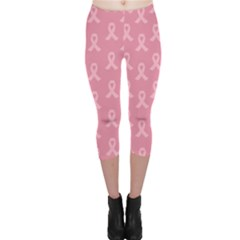 Pink Ribbon   Breast Cancer Awareness Month Capri Leggings  by Valentinaart