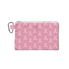 Pink Ribbon   Breast Cancer Awareness Month Canvas Cosmetic Bag (small)