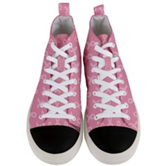 Pink Ribbon   Breast Cancer Awareness Month Men s Mid Top Canvas Sneakers