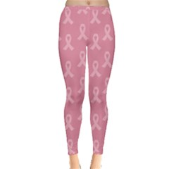 Pink Ribbon   Breast Cancer Awareness Month Inside Out Leggings by Valentinaart