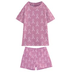 Pink Ribbon   Breast Cancer Awareness Month Kids  Swim Tee And Shorts Set