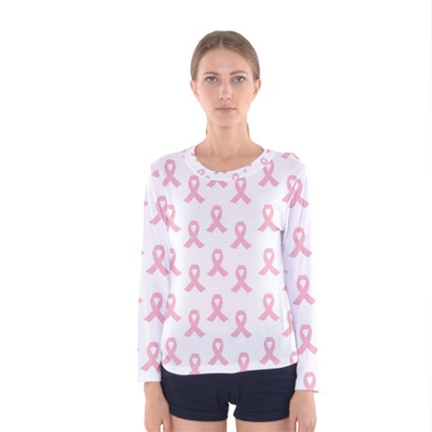 Pink Ribbon - Breast Cancer Awareness Month Women s Long Sleeve Tee by Valentinaart