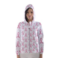 Pink Ribbon   Breast Cancer Awareness Month Hooded Windbreaker (women) by Valentinaart