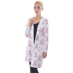 Pink Ribbon   Breast Cancer Awareness Month Hooded Pocket Cardigan by Valentinaart