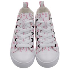Pink Ribbon   Breast Cancer Awareness Month Kid s Mid Top Canvas Sneakers
