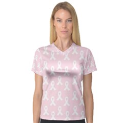 Pink Ribbon   Breast Cancer Awareness Month V Neck Sport Mesh Tee by Valentinaart
