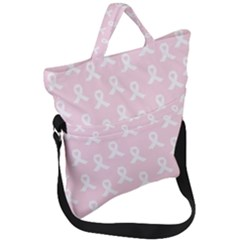 Pink Ribbon   Breast Cancer Awareness Month Fold Over Handle Tote Bag by Valentinaart
