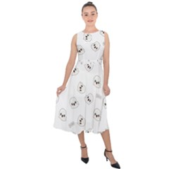 Cute Kawaii Ghost Pattern Midi Tie Back Chiffon Dress by Valentinaart
