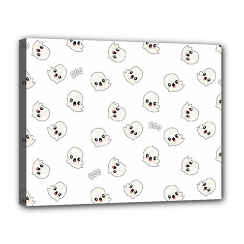 Cute Kawaii Ghost Pattern Canvas 14  X 11  (stretched)
