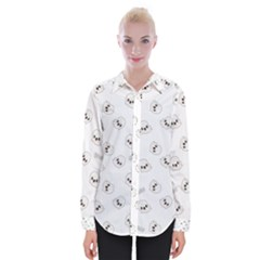 Cute Kawaii Ghost Pattern Womens Long Sleeve Shirt