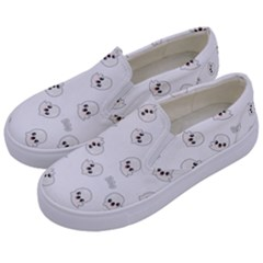 Cute Kawaii Ghost Pattern Kids  Canvas Slip Ons by Valentinaart