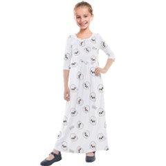 Cute Kawaii Ghost Pattern Kids  Quarter Sleeve Maxi Dress by Valentinaart