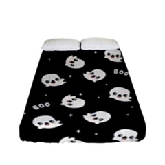 Cute Kawaii Ghost Pattern Fitted Sheet (full/ Double Size) by Valentinaart