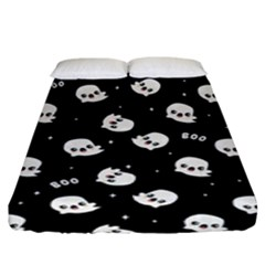 Cute Kawaii Ghost Pattern Fitted Sheet (king Size) by Valentinaart