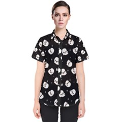 Cute Kawaii Ghost Pattern Women s Short Sleeve Shirt