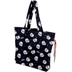 Cute Kawaii Ghost Pattern Drawstring Tote Bag by Valentinaart