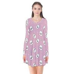 Cute Kawaii Ghost Pattern Long Sleeve V Neck Flare Dress