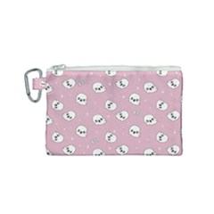 Cute Kawaii Ghost Pattern Canvas Cosmetic Bag (small)
