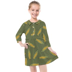 Corn Pattern Kids  Quarter Sleeve Shirt Dress by Valentinaart